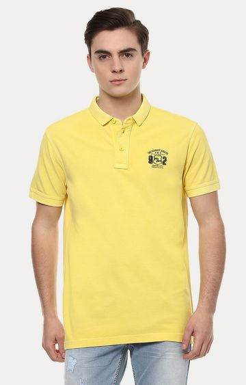 spykar | Spykar Yellow Solid Slim Fit Polo T-Shirt