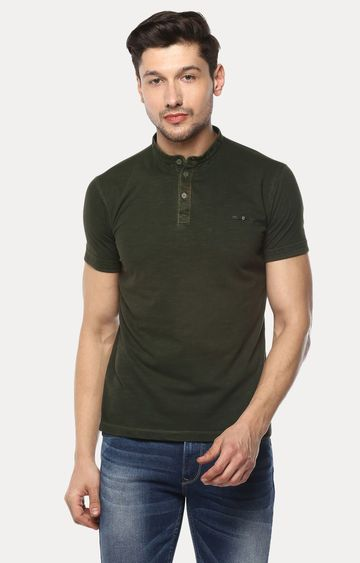 spykar | Spykar Green Solid Slim Fit T-Shirts