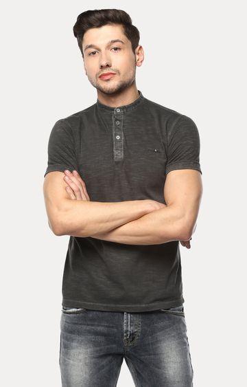spykar | Spykar Charcoal Melange Slim Fit T-Shirts