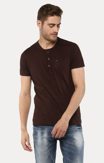 spykar | Spykar Brown Solid Slim Fit T-Shirts