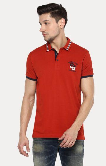 spykar | Spykar Orange Solid Slim Fit Polo T-Shirt