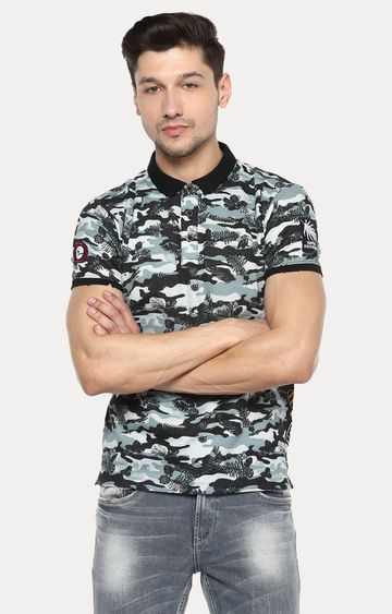 spykar | Spykar Black Camouflage Slim Fit Polo T-Shirt