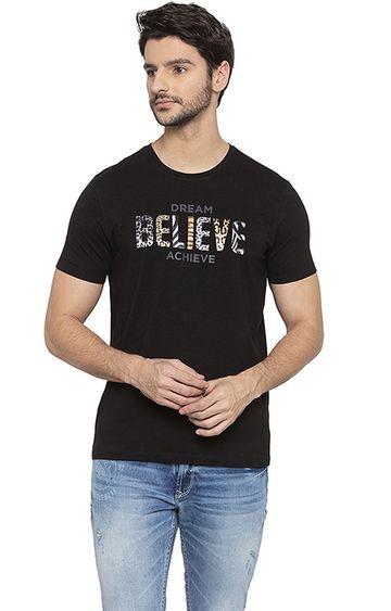 spykar | Spykar Black Printed T-Shirt