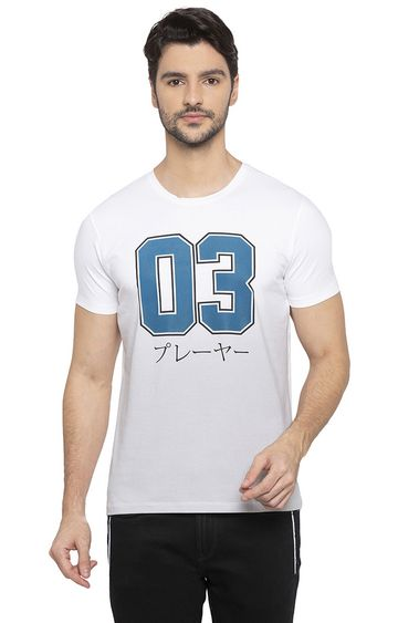 spykar | Spykar White Printed Slim Fit T-Shirts