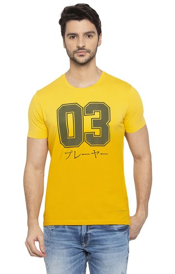 spykar | Spykar Yellow Printed Slim Fit T-Shirts