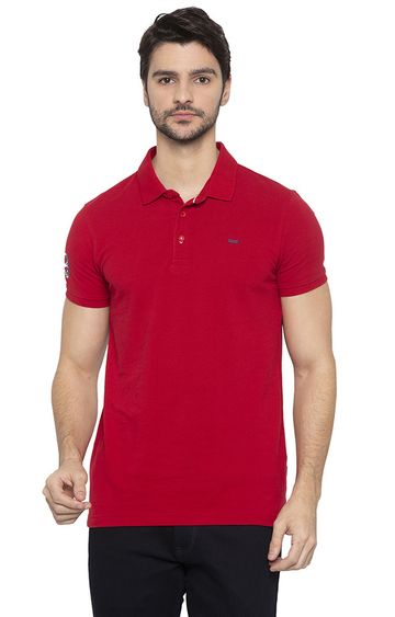 spykar | spykar Deep Red Solid Slim Fit Polo T-Shirt