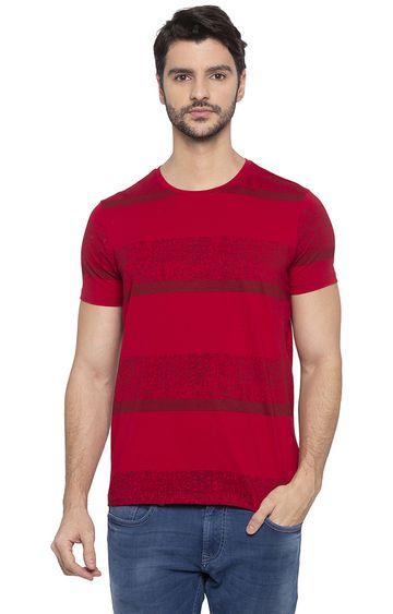 spykar | Spykar Red Striped T-Shirt