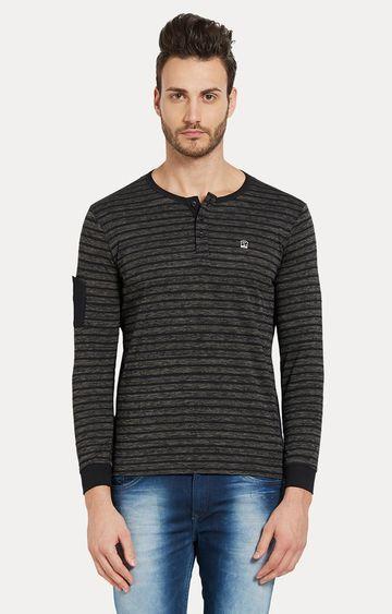 spykar | Black Striped Slim Fit T-Shirts
