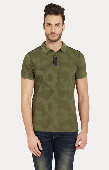 spykar | Spykar Green Camouflage Slim Fit Polo T-Shirt