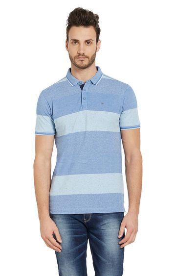 spykar | Spykar Blue Striped Slim Fit Polo T-Shirt