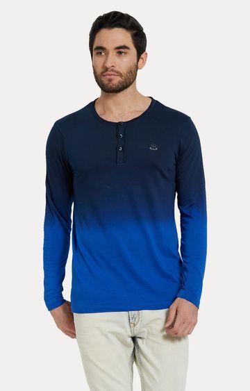 spykar   Spykar Blue Colourblock Slim Fit T-Shirts