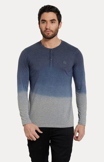 spykar   Spykar Grey & Blue Colourblock Slim Fit T-Shirts