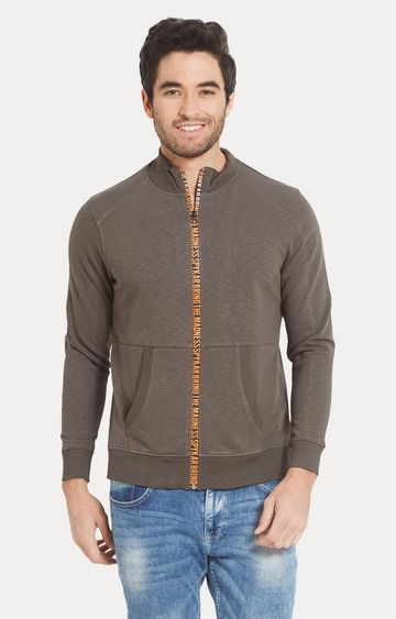 spykar   Spykar Grey Melange Slim Fit Sweatshirts
