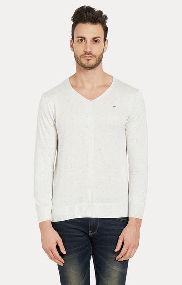 spykar   Spykar White Melange Slim Fit Sweaters