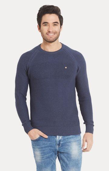 spykar   Spykar Blue Solid Slim Fit Sweaters