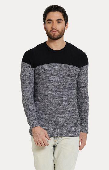 spykar | Spykar Black & Grey Melange Slim Fit T-Shirts