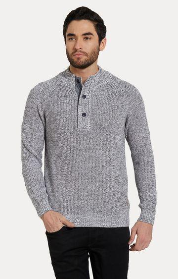 spykar   Spykar Grey Melange Slim Fit Sweaters
