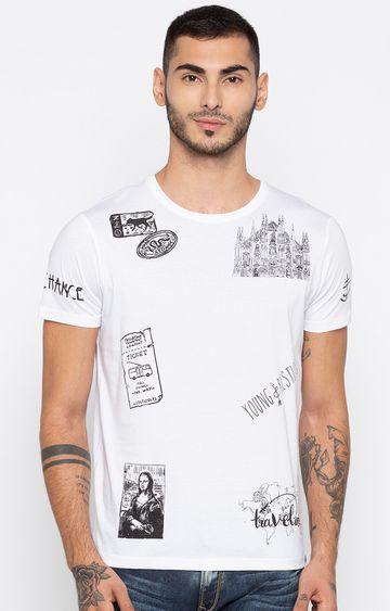 spykar | Spykar White Printed Slim Fit T-Shirts