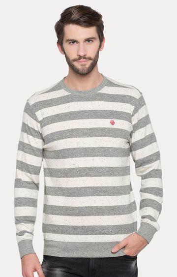 spykar | Spykar Grey Striped Slim Fit T-Shirts
