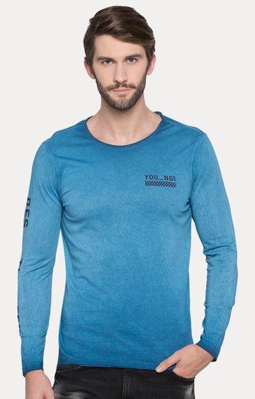 spykar | Spykar Blue Melange Slim Fit T-Shirts