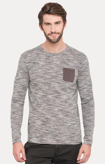 spykar | Spykar Grey Melange Slim Fit T-Shirts