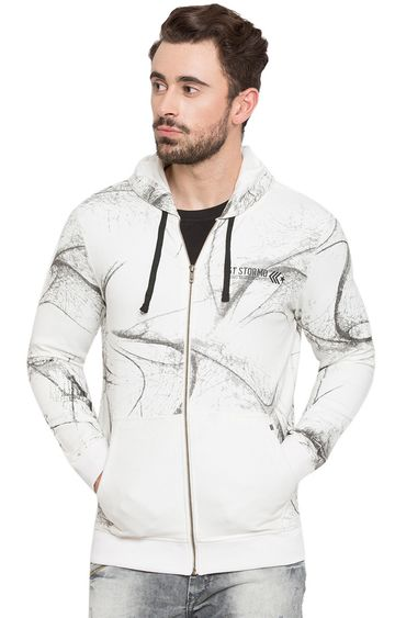 Spykar | spykar White Printed Slim Fit Hoodies
