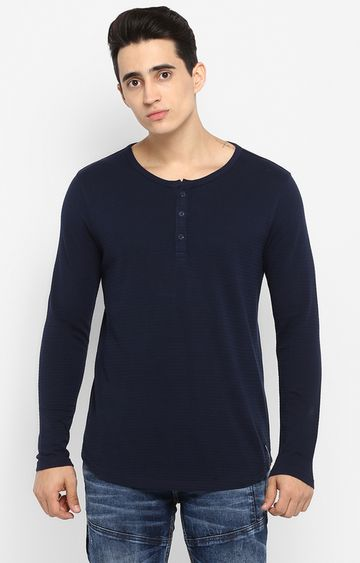 spykar   Spykar Navy Solid Slim Fit T-Shirts