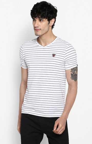 spykar | Spykar White Striped Slim Fit T-Shirts