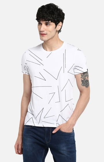 Spykar | spykar White Printed Slim Fit T-Shirt