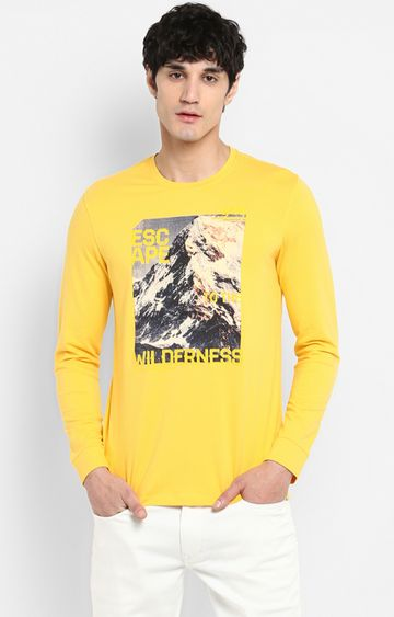 spykar | Spykar Yellow Printed Slim Fit T-Shirts