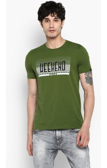 spykar | Spykar Forest Green Printed Slim Fit T-Shirts