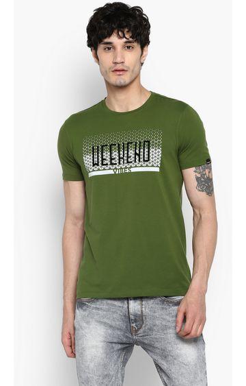 Spykar | spykar Forest Green Printed Slim Fit T-Shirt
