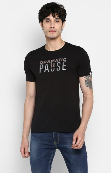 spykar | Spykar Jet Black Printed Slim Fit T-Shirts