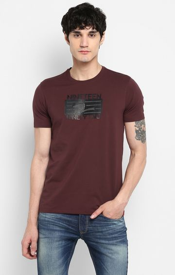 spykar | Spykar Wine Printed Slim Fit T-Shirts