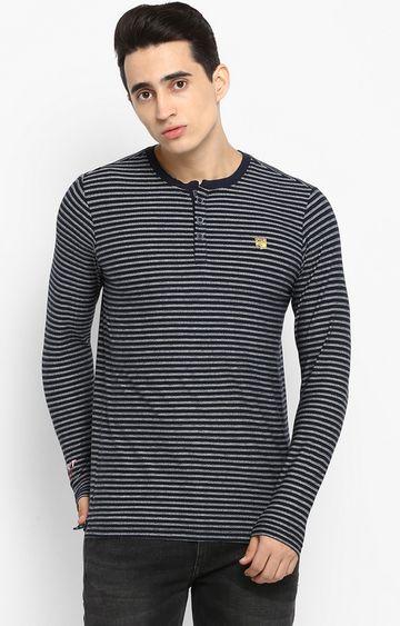 spykar | Spykar Navy Striped Slim Fit T-Shirts