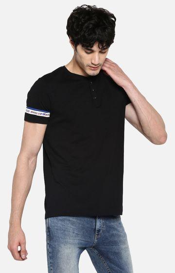 spykar | spykar Black Cotton Blend T-Shirts