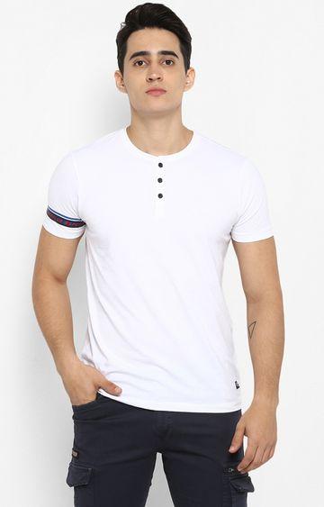 spykar   Spykar White Solid T-Shirt