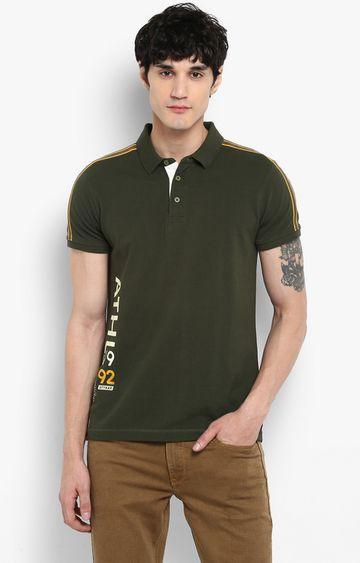 spykar | Spykar Olive Printed Slim Fit T-Shirts