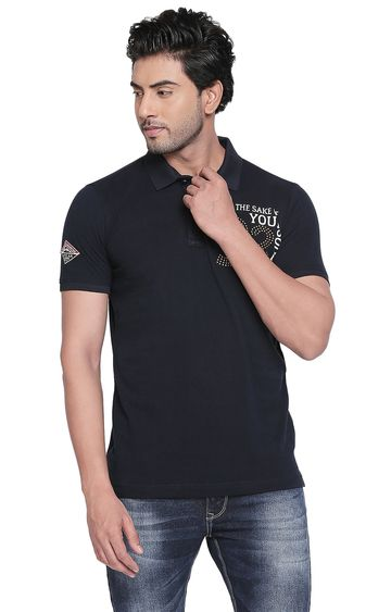 spykar | Spykar Navy Printed Slim Fit Polo T-Shirt
