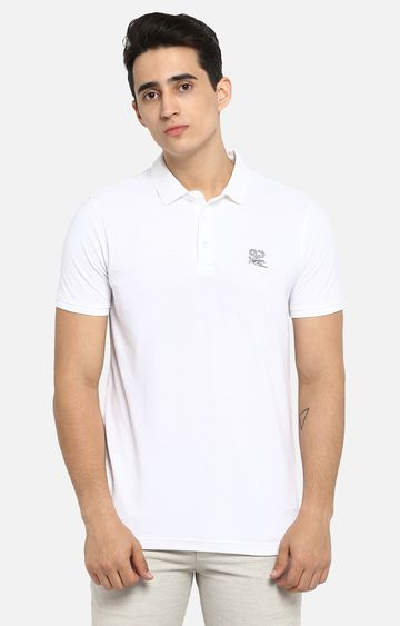 spykar | Spykar White Solid Slim Fit T-Shirts