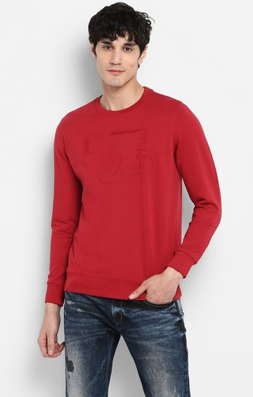 spykar | Spykar Red Solid Slim Fit Sweatshirts