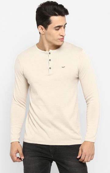 spykar   Spykar Beige Solid Shoe Liners T-Shirts