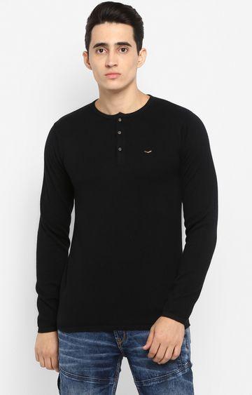 spykar   Spykar Black Solid Slim Fit T-Shirts