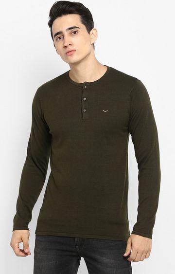 spykar   spykar Green Cotton T-Shirts