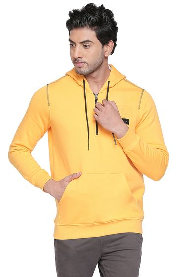 spykar | Spykar Yellow Solid Slim Fit Sweatshirts