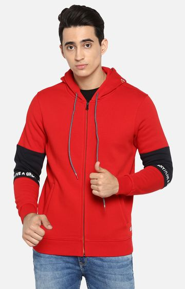 spykar | Spykar Red Solid Regular Fit Hoodies