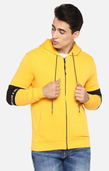 spykar | spykar Yellow Solid Regular Fit Hoodies