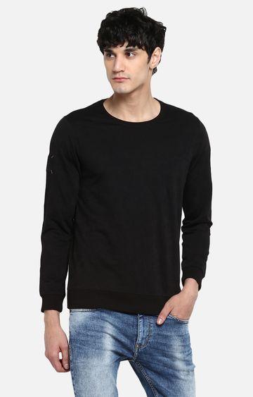 spykar   Spykar Black Solid Slim Fit Sweatshirts