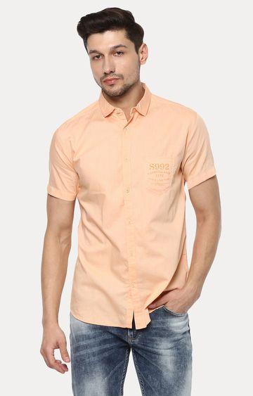 spykar | Spykar Peach Solid Slim Fit Casual Shirts