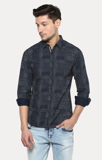 spykar | Spykar Navy Printed Slim Fit Casual Shirts